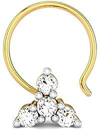Candere By Kalyan Jewellers 18K (750) Yellow Gold and Diamond Gitika Nose Pin