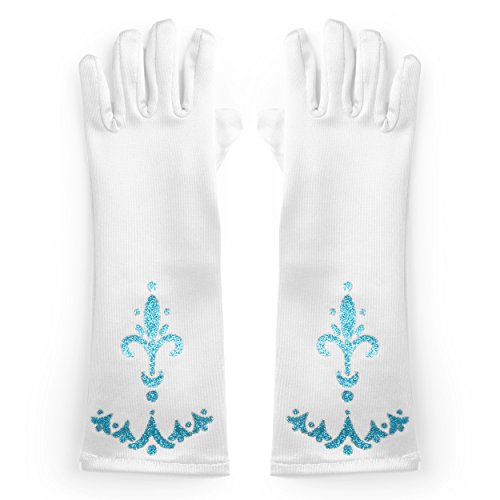 Katara - Guantes de princesa para niñas de 2 - 9 años, accessorio para vestido de disfraz, para Halloween, carnaval o fiesta de cumpleaños - blanco