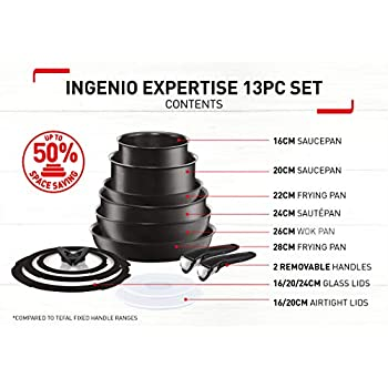 Tefal L6509042 Ingenio Expertise Non-Stick Induction Expertise Cookware Set, 13 Pieces, Black