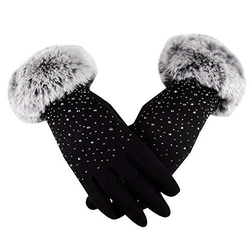 TEBAISE Handschuhe Damen Winter Handschuhe Warme Touchscreen Handschuhe Outdoor Sport Fahrradhandschuhe Winddicht Laufhandschuhe Künstliches Wildleder Handschuhe
