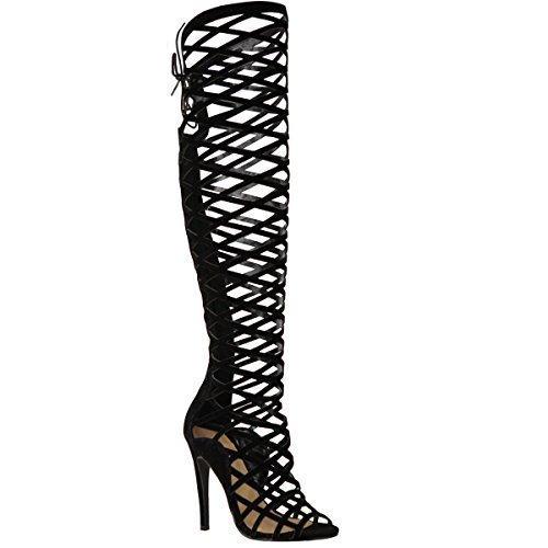 Fashion Thirsty Womens Damen Ausgeschnitten Spitze Knie High Heel-Stiefel Gladiator Sandalen Riemchen Größe - Schwarzes Wildleder, 39 (Heel Gladiator-sandalen)