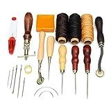 Juego de herramientas de costura de cuero para manualidades, herramientas de costura a mano con kit de hilo encerado de 14 piezas