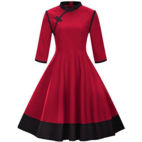 (BaronHong Women 's Plus Größe Sommer Chinesische Traditionelle Frösche Vintage Tutu Kleid (Rot, 3XL))