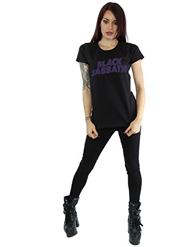 Black Sabbath Femme Distressed Logo T-Shirt Noir