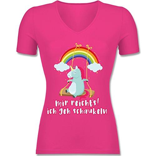 Einhörner - Mir Reichts, Ich geh Schaukeln - Einhorn - Tailliertes T-Shirt mit V-Ausschnitt für Frauen Fuchsia