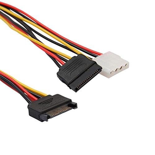 Wokee 15Pin Male Serial zu 15Pin IDE Molex Buchse + 4Pin SATA Buchse Kabel Stromkabel SATA Stromadapter Strom- und Datenkabel, Stecker gerade zu Stecker gerade, Dünn und flexibel für einfaches Routing