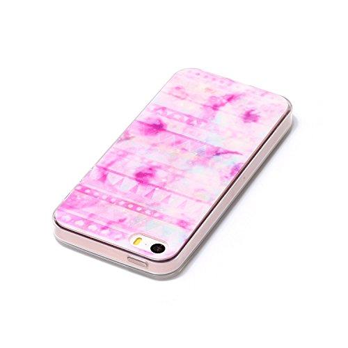 "Aeeque® Ultra Mince Coque de Protection TPU Silicone Case pour Téléphone Portable iPhone 5S - Rayures Rose Motif Design Anti Choc Bord Cristal Housse pour Apple iPhone 5/5S/SE 4.0"" B - Rayures Rose"