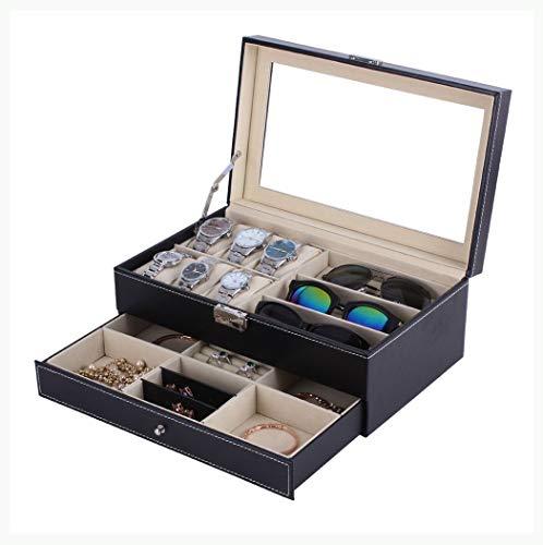 Watch-HLH PU Leder Uhr Jewlery Box Doppelschichten 6 + 3 Grids Uhr Glassess Halter Ringe Lagerung Schmuck Display Schatulle