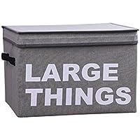 Leegoal (Talla L) Caja de Almacenamiento con Cubierta y Asa, Plegable Contenedores de Almacenamiento para Ropas Sucias | Juguetes Infantil (Gris)
