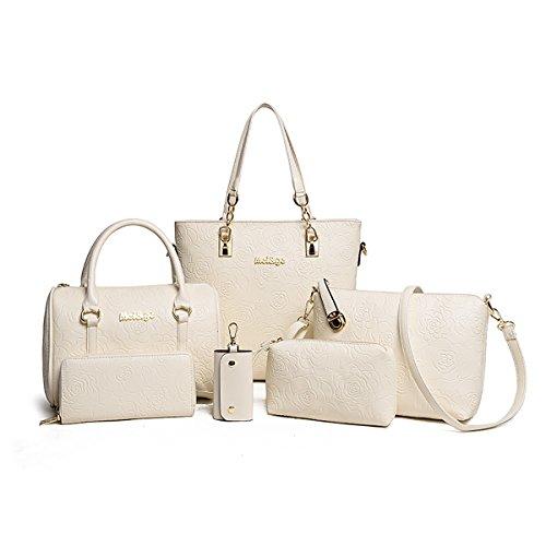 Tisdain Borsa a mano in rilievo a mano di modo delle donne 6 pezzi borsa + borsa a tracolla + borsa del messaggero + raccoglitore