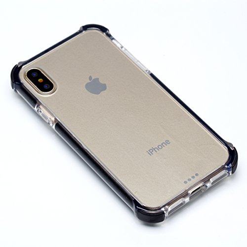 iPhone X Coque, Voguecase [TPU Antichoc Excellent] + [PC Rigide Résistant], Etui Silicone Souple, Légère / Ajustement Parfait Coque Shell Housse Cover pour Apple iPhone X (Épaissement-Gris) + Gratuit  Épaissement-Noir