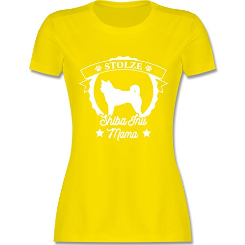 Shirtracer Hunde - Stolze Shiba Inu Mama - Damen T-Shirt Rundhals Lemon Gelb