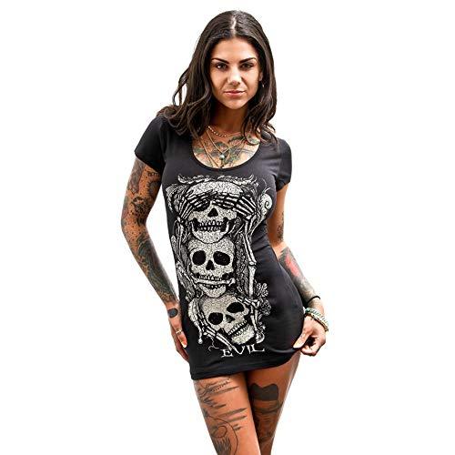 BHYDRY Damen ärmellose Totenkopf gedruckt Sommer Vintage Weste Kleid lose beiläufiges Kleid (Medium, Schwarz-A) (Silk Kleid Tank)