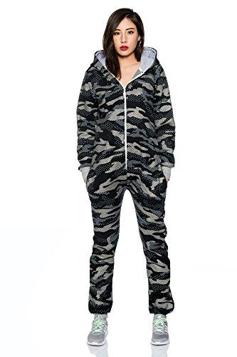 Crazy Age Jumpsuit Overall Einteiler CA 2840 Trendigen Camouflage Farben (XL, Schwarz (A)) - 2