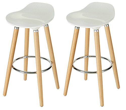Orolay Mordernes Design Barhocker Barstuhl Hocker Tresenhocker Küchenstuhl 38 x 38 x 80 cm (2xweiß)