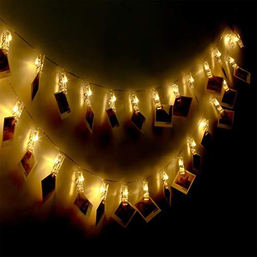 Yue Ying Clip Cadena de Luces LED, 40LEDs 5m Fotoclips Guirnalda de Luces para Decoración de Fotos(40LEDS)
