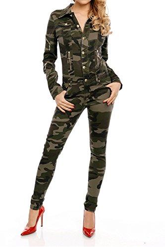 Armee Kostüme Frauen Sexy Für (Damen Army Overall Camouflage Einteiler Kostüm Uniform Tarnmuster Slim Jumpsuite lang Modell A665)