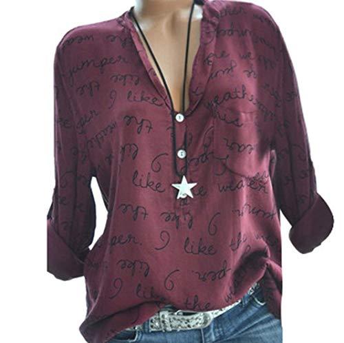 ABsoar Blusen Damen Hemd Pullover Langarm Shirts Tunika Frauen Plus Größe V-Ausschnitt Taste Langarm Brief Bluse Tops Shirt S~5XL