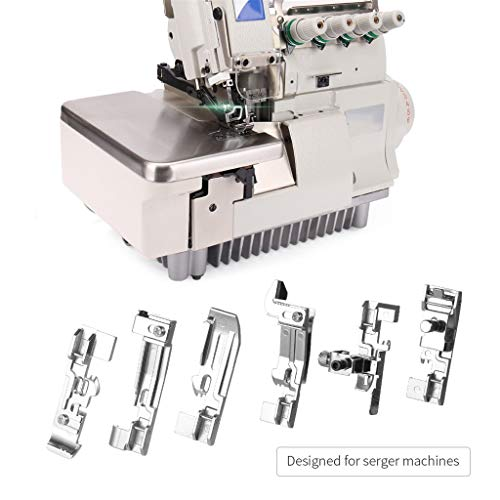 TAOtTAO 6 Stück Stitching und Stretching Machine Zubehör Overlock und Presse Fuß Set Nähmaschinenzubehör-Spezialkopie-Seitennaht-Fußsatz -
