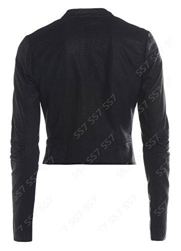 SS7 Femmes Original Veste Motard Simili Cuir, Noir, Taille 8 pour 16 Noir