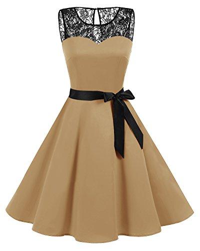 bbonlinedress 1950er Ärmellos Vintage Retro Spitzenkleid Rundhals Abendkleid Ginger 3XL