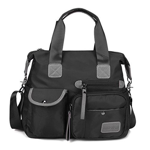Damen Handtasche, Gracosy Wasserdichte Umhängetasche Nylon Schultertasche Mädchen Handtaschen Shopper Tasche Messenger Bag für Reisen Büro Arbeit Schwarz (Hobo Handtasche Nylon)
