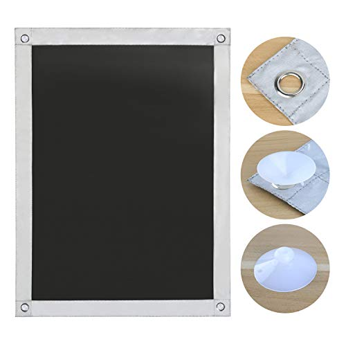 OBdeco Thermo Rollo Dachfenster Sonnenschutz Verdunkelungsrollo für Velux Hitzeschutz ohne Bohren mit Saugnäpfen (Schwarz, 48x93cm)