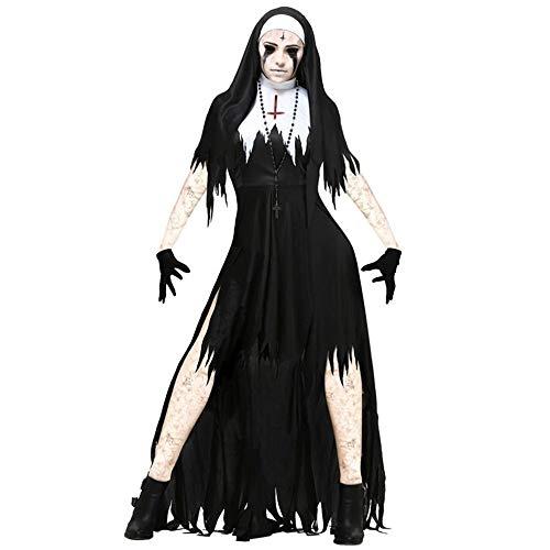 Kostüm Fantasy Nonne - XIAOYUTOU Halloween Nonne Cosplay Kostüm Frauen Schwarz Vampire Fantasy Kleid Terror Schwester Party Verkleidung Weibliche Phantasie for Erwachsene (Color : Vampire, Size : M-Vampire)