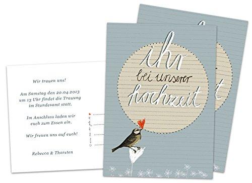 50 Hochzeitseinladungen inkl. Druckservice - Ihr bei unserer Hochzeit - mit individuellem Text auf der Rückseite Hochzeitskarten Einladungskarten Recyclingpapier