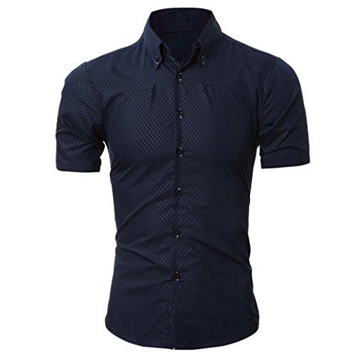 Abbigliamento Uomo, ASHOP T Shirt Uomo Manica Corta, Camicetta a Manica Corta da Uomo con Stampa T-Shirt, T-Shirt da Uomo In Tinta Unita Blu Navy