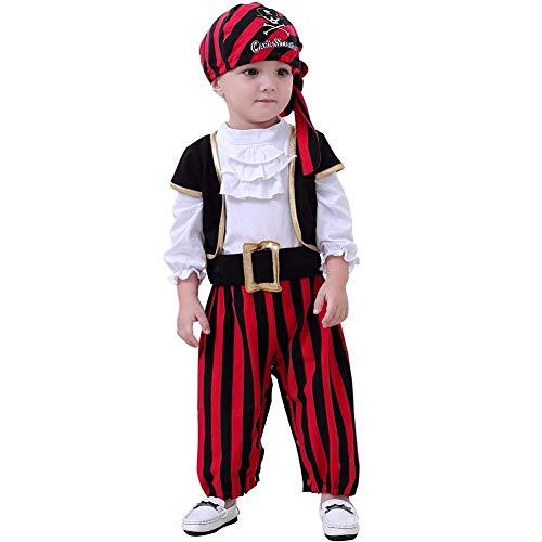 ZTie Baby Kinder Piraten Kostüm Set Langarm Strampler Rompers +Kopftuch + Gürtel +Weste Fasching Karneval Halloween Party Kostüm Fotoshooting (Schwarz, Weiss, 18-24 Monate)