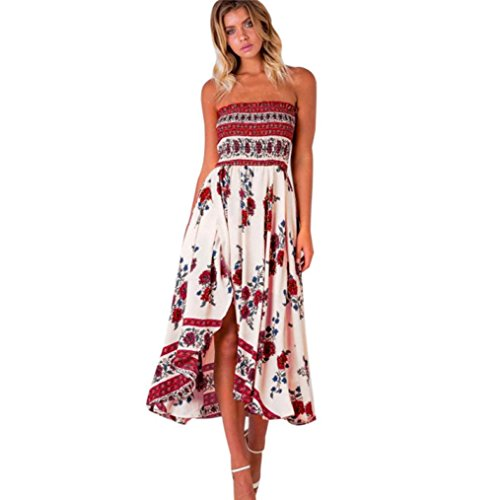 Price comparison product image 2018 Hot Sale / Women Off Shoulder Boho Long Maxi Evening Party Beach Dress Floral Sundress (Red,  M)