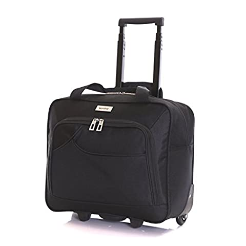 Karabar Brigg Wheeled Laptop Case (40 cm, Black 40 cm)