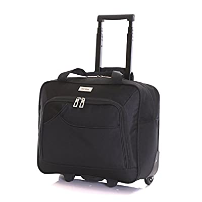 Karabar Brigg Super Lightweight Business Travel Wheeled Rolling Laptop Tablet Computer Trolley Suitcase Hand Luggage Cabin Approved Bag Case Briefcase Organiser with Overnight Compartment - laptop-roller-cases