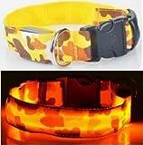 AGIA TEX Germany LED-Hundehalsband - Leuchthalsband für Hunde inkl. Batterie (XL, Gelb Tarnfarbe)