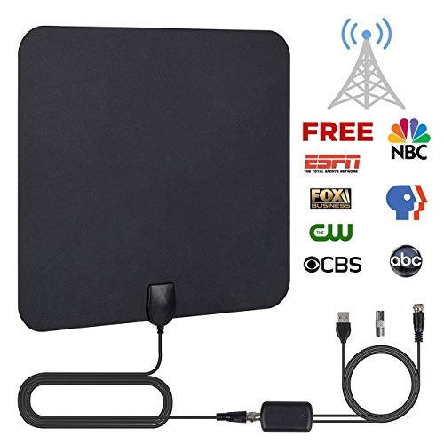 TV Antenna, HDTV Digital Antenna Ultra Slim Portable Satellite Dish DTT Indoor 50 TV Cable Miles with Advanced Signal Amplifier and Amplifier and 13.2 FT Coaxial Cable (Black)