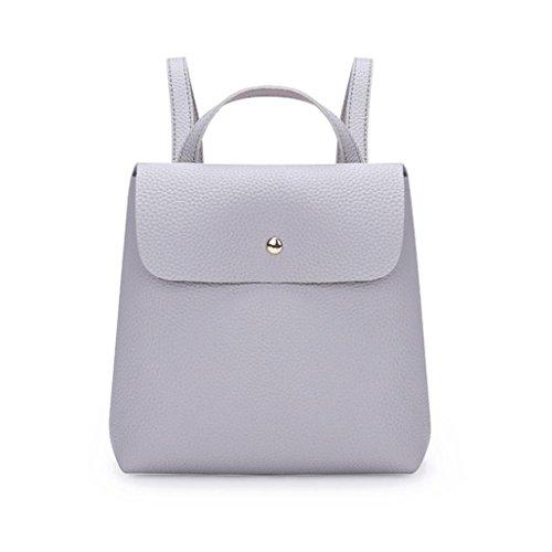QMBER Handtaschen Damen, Damen Doppel-Schultertasche Leder einfach (grau)