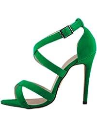 HooH Mujer Tacón alto Verano Sandalias Cruz Peep Toe Gladiator Zapatos de tacón Sandalias