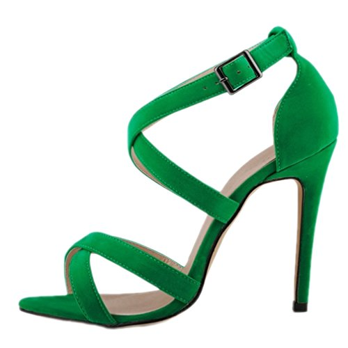 HooH Femmes Daim Hollow Out Peep Toe Boucle Stiletto Escarpins Sandales Vert