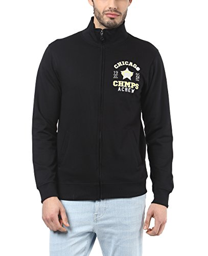 American Crew Men's Solid Full Sleeves Black & Yellow Zipper Jacket With Applique -XL (ACJK22A-XL)  available at amazon for Rs.899