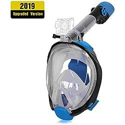 Unigear Masque de Plongée, Masque Snorkeling Plein Visage 180° Visible, Antibuée Anti-Fuite sous-Marine, 2019 Nouveau Version Snorkel Masque avec la Support pour Caméra de Sport (Noir-Bleu, S/M)