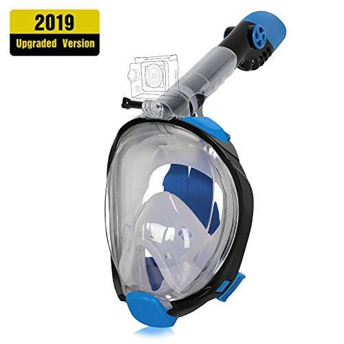 Unigear Máscara De Buceo Gafas Snorkel Facial Completa Adulto 180° Vista Panorámica con Camara Deportiva para Bucear Natación Anti-Vaho Anti-Fugas Modelo Último (Negro+Azul, S/M)