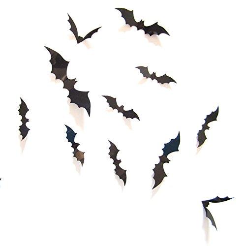 Friedhof PVC 3D Fledermaus-Dekoration, Wandaufkleber für Fenster zu Hause, 24 Stück schwarz ()