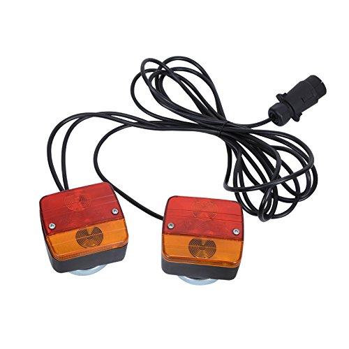 Rückleuchten (2 Universal Rückleuchten Verkabelt Komplettset Rücklicht Verlängerung Kabel Voilamart für KFZ Anhänger Anhängerbeleuchtung zum Anschrauben Beleuchtung)