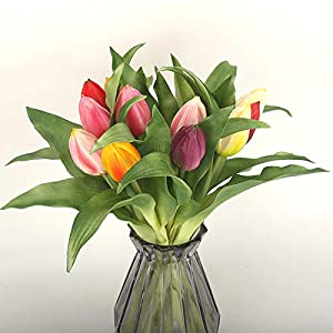 Dorime 7pcs / Realsoft montón de Silicona Tulipanes de Flor Artificial para el hogar Boda DecorationBridal Mano Flores…