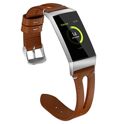 Fitbit Charge 3, Leder, atmungsaktives Ersatzband, Fitness-Sport-Armband, für Männer und Frauen ()