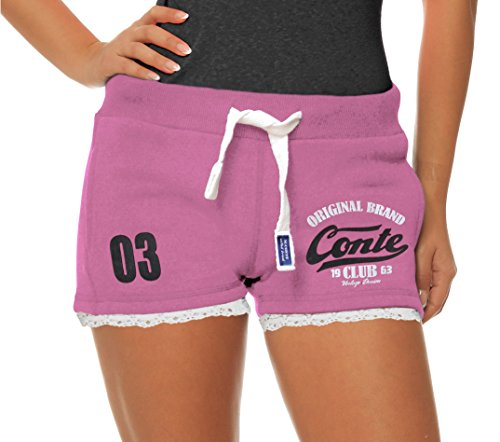 M.Conte Damen Jersey-Shorts Basic Skinni Fit Sport-Shorts/Training Retro-Shorts Kurze Damen-Hose Pants Jogginghose Sporthose Blau Neon Pink Weiss Rot S M L XL (L, Lila) -