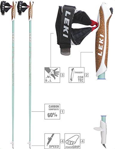 LEKI Passion Nordic Walking Stock, Mint/White/Coral, 110