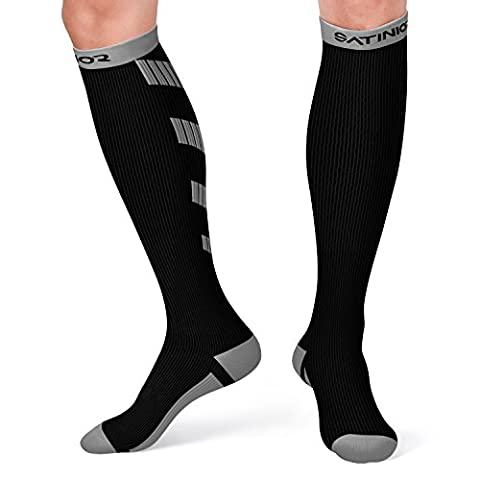 Satinior Sports Compression Socks for Men and Women, 10-20 mmHg Graduated Stockings for Running, Travel, Athletic, Pregnancy, Nurses, Edema, Circulation and Recovery (Black/Gray,