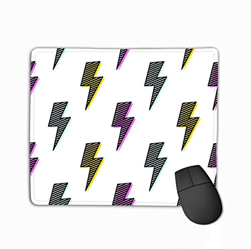 Mouse Pad Bright Lightning Bolt Fun Design pop Art Funky Background Artistic Texture Bright Bolt Rectangle Rubber Mousepad 11.81 X 9.84 Inch -